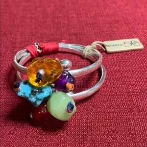 Uno de 50 Double Bangle Stone Bracelet NWT